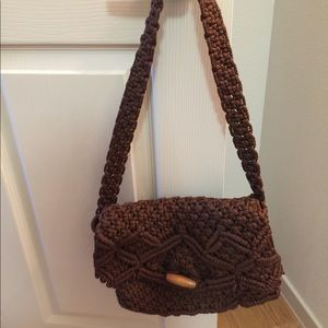 Retro Jute Handbag Brown with Printed Interior GUC